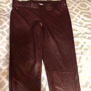 Burgundy leather leggings